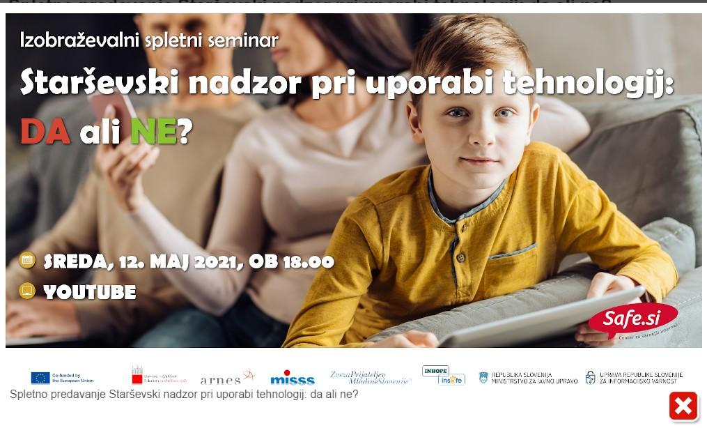 Vabilo na spletno predavanje Starševski nadzor pri uporabi tehnologij: da ali ne?